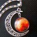 Necklace Pendant Crescent Moon Vintage Hollow Long Silver Chain