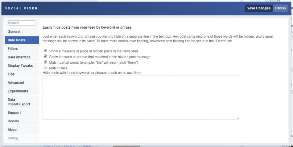 social fixer tab hide posts