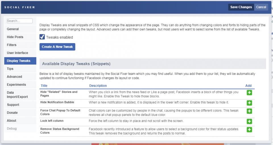 Social Fixer Tab display tweaks
