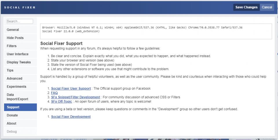 social fixer tab support