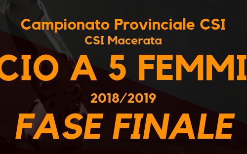 Calcio a 5 femminile – Campionato CSI sez. Macerata '18/'19 – Fase finale