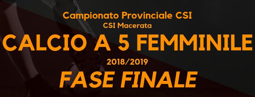 Calcio a 5 femminile Campionato CSI Macerata Fase finale