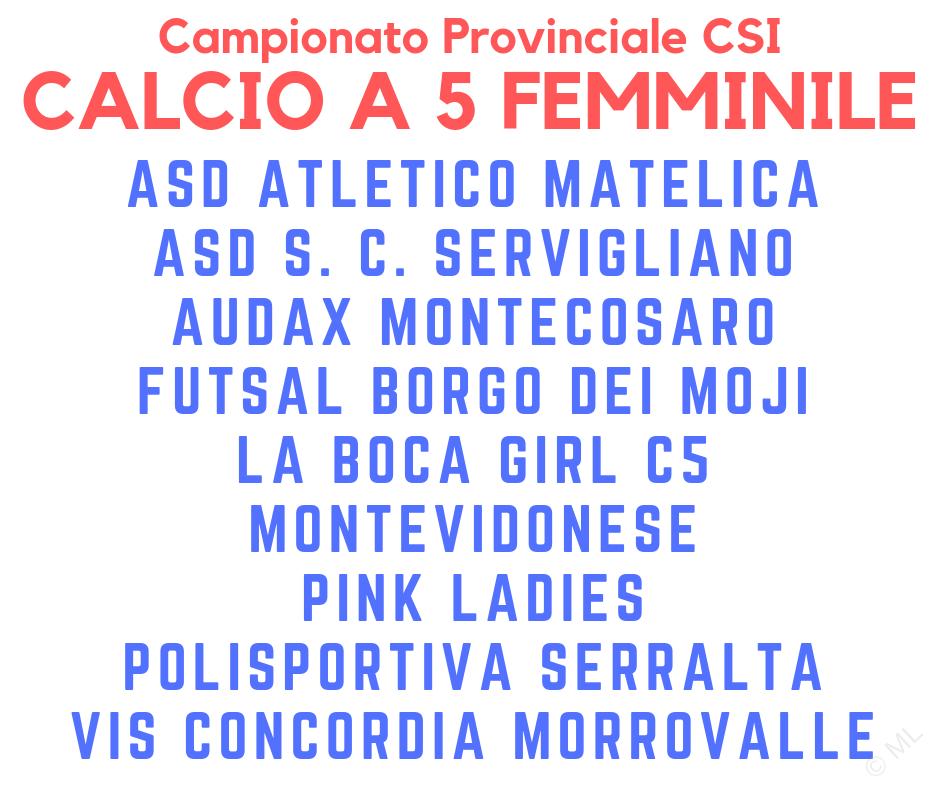 Calcio a 5 femminile - Campionato CSI sez. Macerata '19/'20 - Squadre